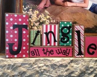 Jingle All the Way Decorative Handmade Christmas Blocks