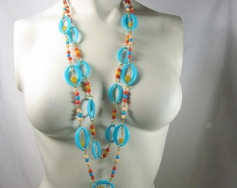 Aqua Ring Loop Two Chain Necklace with Coral, Amber and Ivory Tone Beads Long