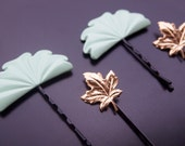 Upcycled Hair Pins - Green Fan and Gold Maple Leaf - (Set of 4) Embellished Bobby Pins