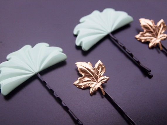 Vintage Hair Accessories - Green Fan and Gold Maple Leaf - (Set of 4) Embellished Bobby Pins