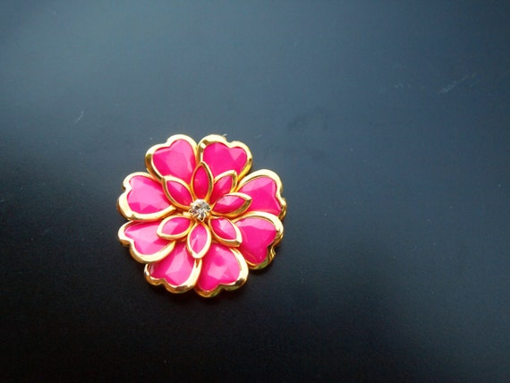 Jeweled Hair Accessory - Pink and Gold Heart Flower with White Gemstone - Embellished Bobby Pin