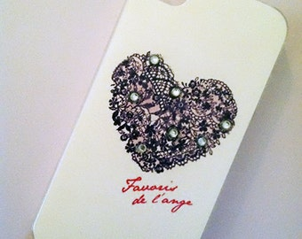 Lace Heart Hard Plastic Cell Phone Case for the iPhone 4/4S