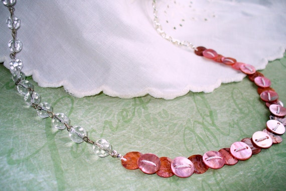 Delicate Pink Capiz Shell and Crystal Bead Necklace