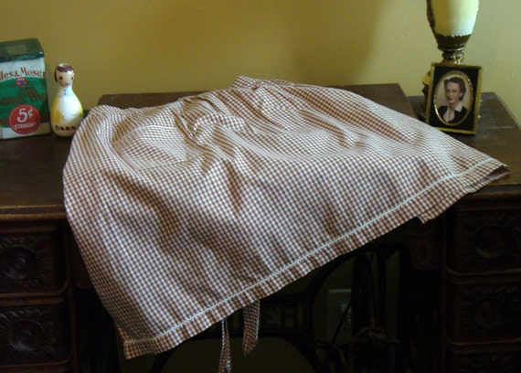 Vintage Brown and White Gingham Apron,  Half Apron Trimmed in Rick Rack, Half Apron, Vintage Apron, Handmade Apron, by Marjorie Mae