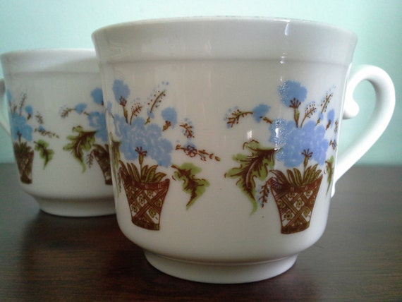 Pair of Bareuther Waldsassen Tea Cups with Blue Flowers in Baskets