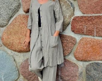 Natural Linen Dress with Pockets