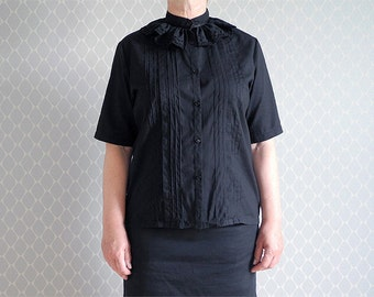 Black blouse with lace collar