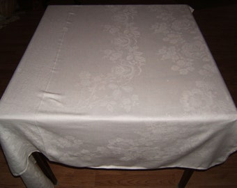 A+ 83x55 Antique Vintage White Irish Linen Double Damask Tablecloth 208