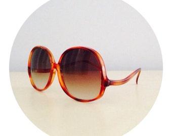 1970's Round Boho Hippie Orange Sunglasses