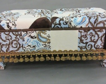 Bench Upholstered in Minky Patchwork with Button Tufting in an Artistic Blend of Blue and Brown Patterned Fabrics.