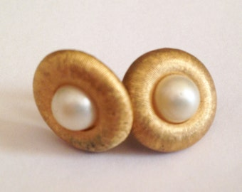 Gold and Faux Pearl Napier Vintage Nesting Clip-On Earrings From 1950's Estate