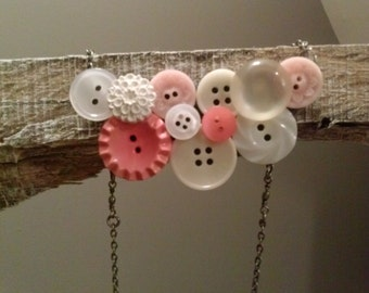 Pink and pearl button bib necklace