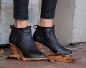 """Women's Black Leather Ankle Boot with Heel """"Kiss The Dirt"""" Boot"""