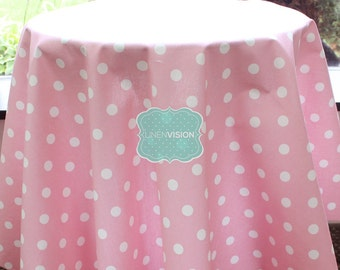 Tablecloth - Premier Prints - POLKA DOTS  - Baby Pink White - Choose Your Size - Table Linen Wedding Home Decor Dining Kitchen