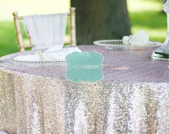 Tablecloth   GLITZ Sparkly Sequins   Choose Any Size And Color   Event Home  Decor Glam