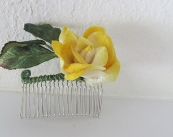 Yellow Velvet rose on hair comb