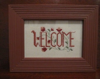 WELCOME needlework in barn-red frame, country, cottage, folk, chic, pretty!
