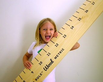 Ruler growth height chart, solid Australian sustainable Hoop Pine timber, metric, new baby gift