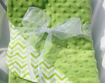 Green Chevron Flannel Minky Baby Blanket, Baby Shower Gift