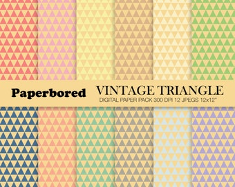 VINTAGE TRIANGLE Digital Paper Pack, Triangle Pattern Papers In Pretty Vintage Colours / Instant Download