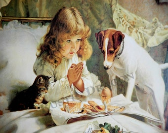 "Charles Burton Barber ""Suspense""  Reproduction Digital Print  Dog Praying Girl"