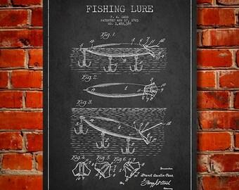 1923 Fishing Lure Patent, Canvas Print, Wall Art, Home Decor, Gift Idea