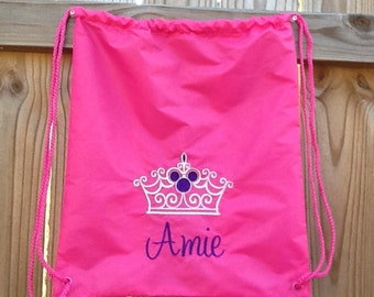 Embroidered Pink Princess Drawstring Backpack
