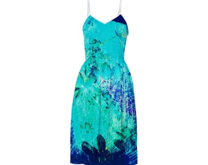 Ocean Flowers Fashion Dress - Sleeveless Sundress,Braces Floral Dress,Sling Dress,Suspender Dress,Summer Dress,Long Dress,Custom-Made Dress