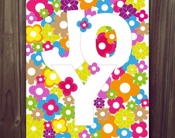 INSTANT DOWNLOAD Flower Power Joy Art Print 8x10 1960s 1970s retro home decor