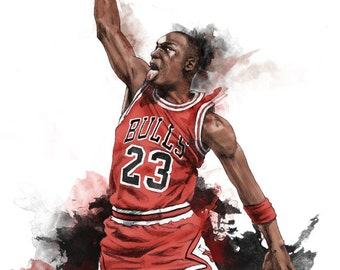 Michael Jordan Illustrated wall poster art