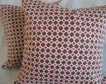 18x18 Brown, red, pink and white decorative pillow set, removable covers, throw pillows, home decor