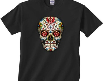 Sugar Skull Shirt Day of the Dead T-Shirt Yellow Skulls with Roses FREE SHIPPING in usa