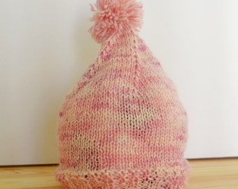Hand Made Knitted Baby Beanie 3-6 months - Pink