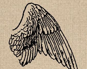 INSTANT DOWNLOAD Printable Angel Wing Image Antique Angel Wing Illustration Angel Wing Clipart Wing Printable 300dpi HQ