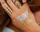 Geometric Tattoos, Geometric Jewelry, Diamond Tattoos, Gold Triangle Metallic Tattoos, NEW Diamond Geometric Metallic Temporary Tattoos