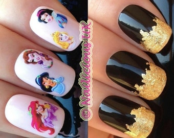 nail art set #101. princess ariel belle aurora jasmine water transfers decals stickers and a large gold leaf sheet present gift