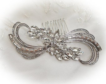 Art Deco vintage 1920's 30's inspired rhinestone bridal hair comb swirl silver colour