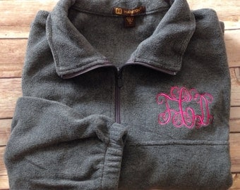Monogrammed Quarter-zip pullover jacket-Adult Sizes
