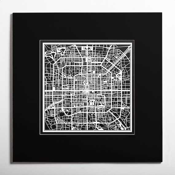 Paper Cut Map Beijing Matted 2020 In Color Alternative