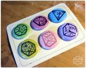 Polyhedral Dice Button Pack of all of your favorite multi-sided dice