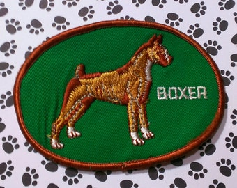 """Vintage 1960's """"Boxer'' Dog Breed  Nicely Embroidered Iron-On  Patch 4 1/4'' X 3''"""