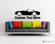 Large Custom personalized text -  Low Shelby AC Cobra sports car wall decor vinyl sticker