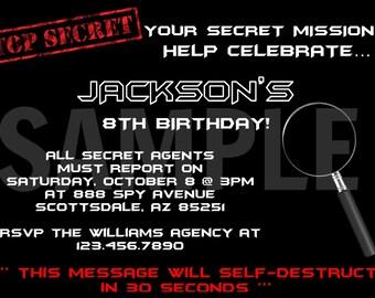 Agent secret Invitation imprimable espion détective Mission