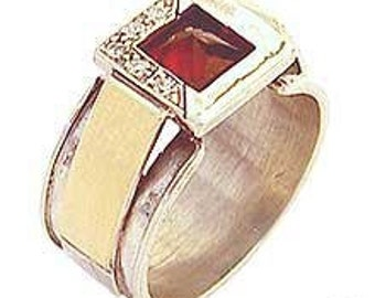 Sterling Silver Ring with Garnet, Zircons & Gold 9Ct