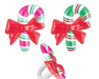Christmas Candy Cane Cupcake Rings