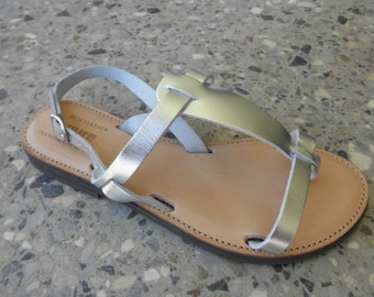 Classic Ladies Leather Silver Sandals.
