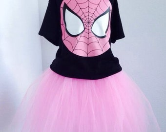 Spider Girl inspired tutu set in pink and black.