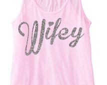 Wifey Racerback Tank Top glitter rhinestone T-Shirt Bride to Be Pink Top Bachelorette Party Brides Gift Bridal