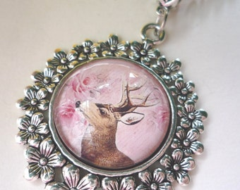 Necklace, Deer, antique-silver