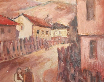 European art vintage oil painting cityscape, country view signed
